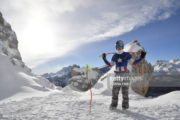 Lindsey Vonn of USA takes part in a training session on the eve of the FIS Alpine World Cup Women's Downhill replaces Val d'Isere event on January 18...