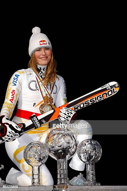 Lindsey Vonn of Usa takes the Overall Globe during the Alpine FIS Ski World Cup Women's Overall Podium on March 14 2009 in Are Sweden