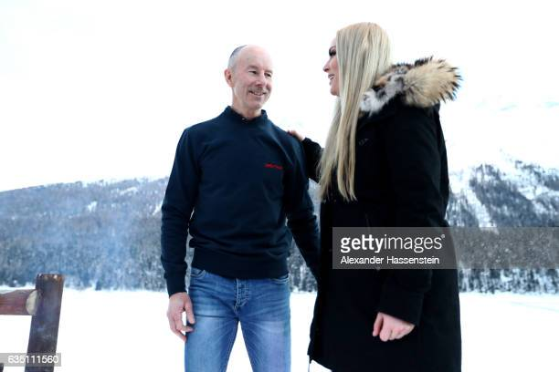 Lindsey Vonn of USA talks to Ingemar Stenmark of Sweden at Hotel Waldhaus am See on February 13 2017 in St Moritz Switzerland
