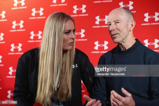 Lindsey Vonn of USA talks to Ingemar Stenmark of Sweden during a media talk at Hotel Waldhaus am See on February 13 2017 in St Moritz Switzerland