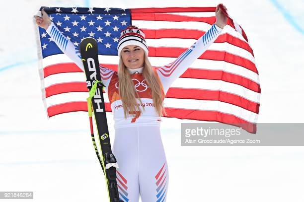 Lindsey Vonn of USA wins the bronze medal during the Alpine Skiing Women's Downhill at Jeongseon Alpine Centre on February 21 2018 in Pyeongchanggun...