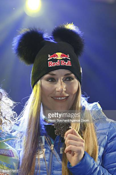 Lindsey Vonn of USA wins the bronze medal during the FIS Alpine Ski World Championships Women's Downhill on February 12 2017 in St Moritz Switzerland