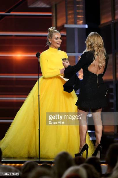 Lindsey Vonn presents the Female Vocalist of the Year award to Miranda Lambert onstage during the 53rd Academy of Country Music Awards at MGM Grand...