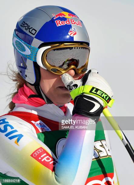 US Lindsey Vonn reacts in finish area of the women's World Cup downhill on January 12 2012 in St Anton am Arlberg AustriaUS Alice McKennis won the...
