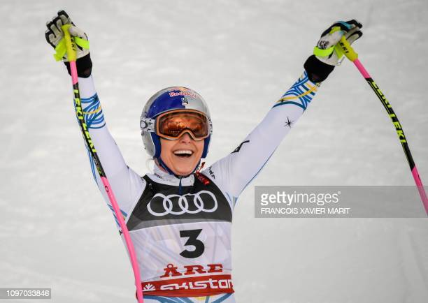 Lindsey Vonn reacts in the finish area during the Women's Downhill event of the 2019 FIS Alpine Ski World Championships at the National Arena in Are...