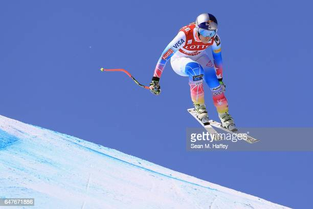 Lindsey Vonn skis to second place during the Audi FIS Ski World Cup 2017 Ladies' Downhill at the Jeongseon Alpine Centre on March 4 2017 in...