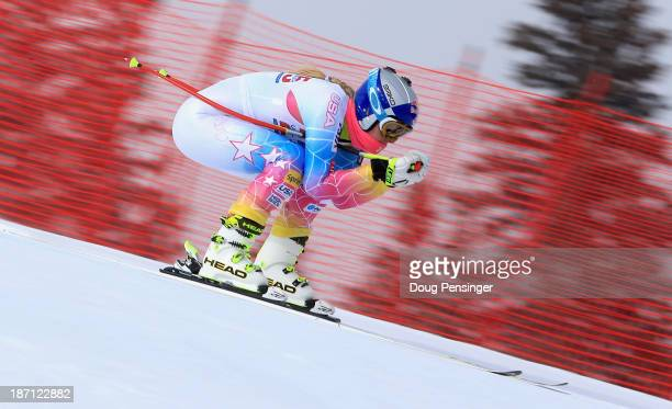 Lindsey Vonn takes a downhill training run at the U.S. Ski Team Speed Center at Copper Mountain on November 6, 2013 in Copper Mountain, Colorado.