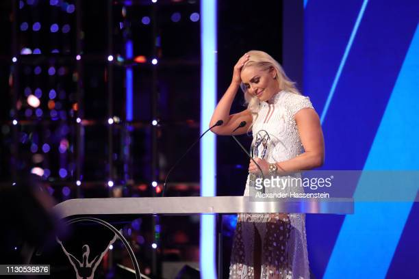 Lindsey Vonn winner of the Laureus Spirit of Sport Award 2019 speaks on stage with her trophy during the 2019 Laureus World Sports Awards on February...