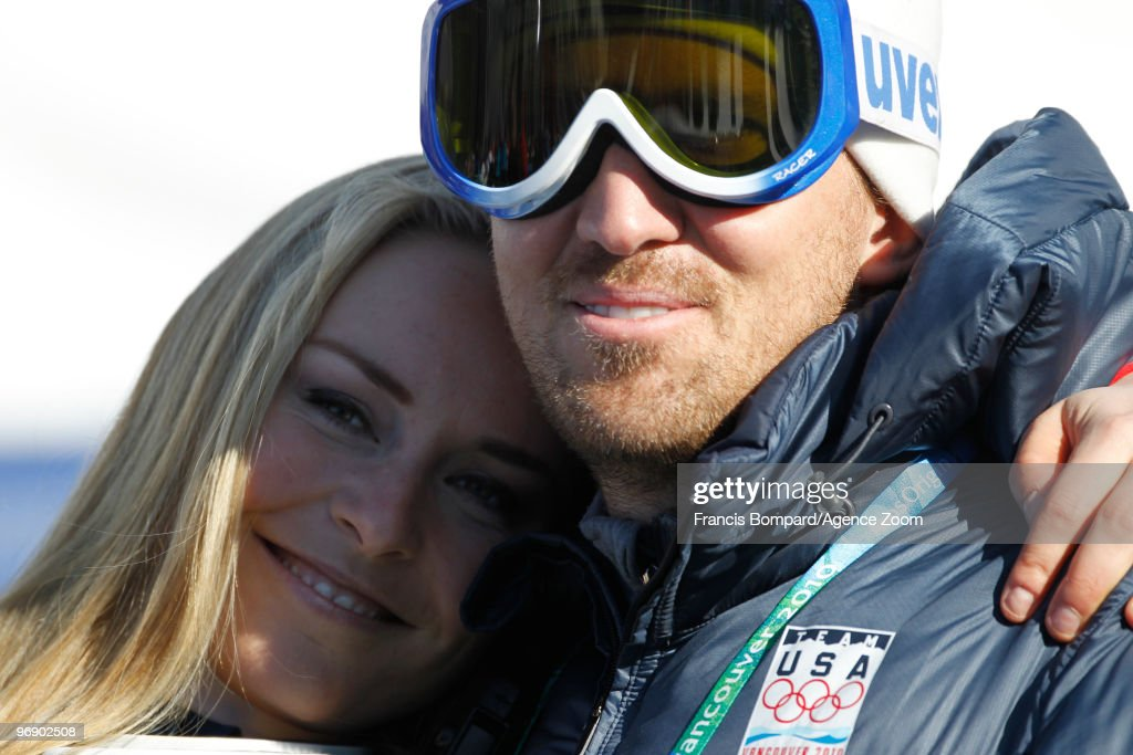 Lindsey Vonn with her husband Thomas during the Women's Alpine Skiing Super-G on Day 9 of the 2010 Vancouver Winter Olympic Games on February 20, 2010 in Whistler Creekside, Canada.