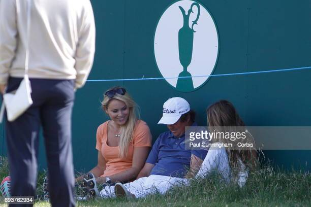 Lindsey Vonn with Nadine Moze having fun with Jason Dufner taking selfie pictures while performing the 'vacant pose' a craze Jason started on the...