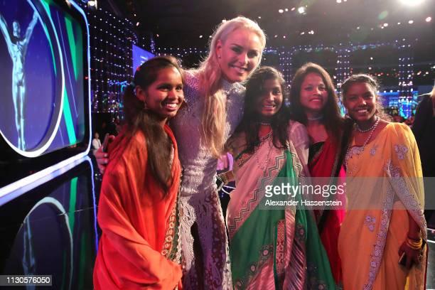 Lindsey Vonn with Neeta Kumari Hema Kumari Konika Kumari Radha Kumari of the Yuwa Football Girls team a footballbased charity from India after the...