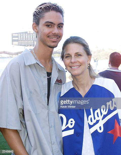 Lindsey Wagner and her son Dorian at Dodger Stadium for 'Hollywood Stars Night' were two teams of celebs play against each other before the regular...