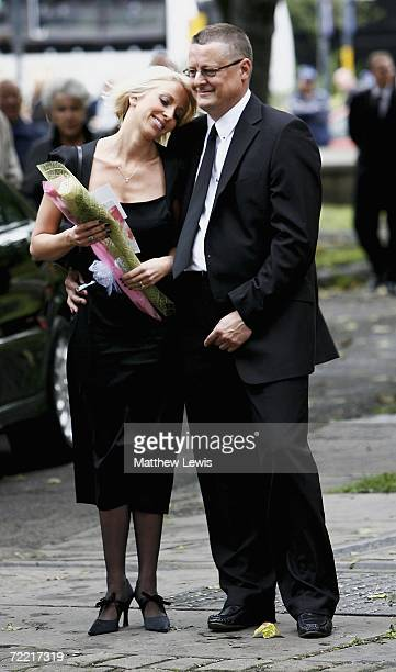 Lindsey wife of Paul puts on a brave face during the funeral of her husband at Leeds Parish Church on October 19 2006 in Leeds England The threetime...
