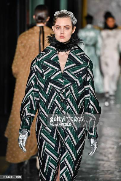 Lindsey Wixson walks the runway at the Erdem Ready to Wear Fall/Winter 2020-2021 fashion show during London Fashion Week on February 17, 2020 in...