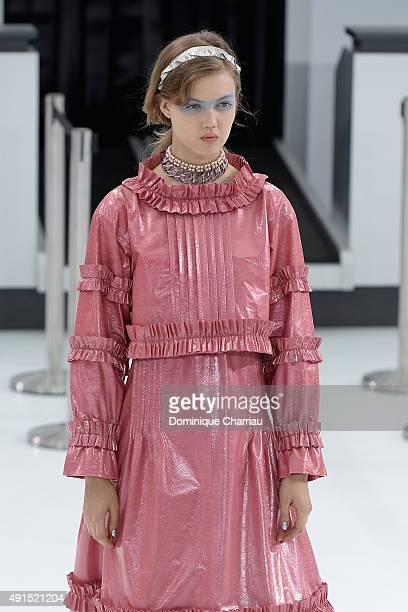 Lindsey Wixson walks the runway during the Chanel show as part of the Paris Fashion Week Womenswear Spring/Summer 2016 on October 6 2015 in Paris...
