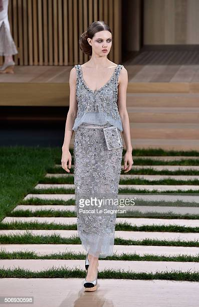 Lindsey Wixson walks the runway during the Chanel Spring Summer 2016 show as part of Paris Fashion Week on January 26 2016 in Paris France