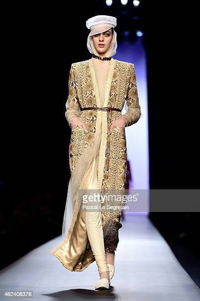 Lindsey Wixson walks the runway during the Jean Paul Gaultier show as part of Paris Fashion Week Haute Couture Spring/Summer 2015 on January 28 2015...