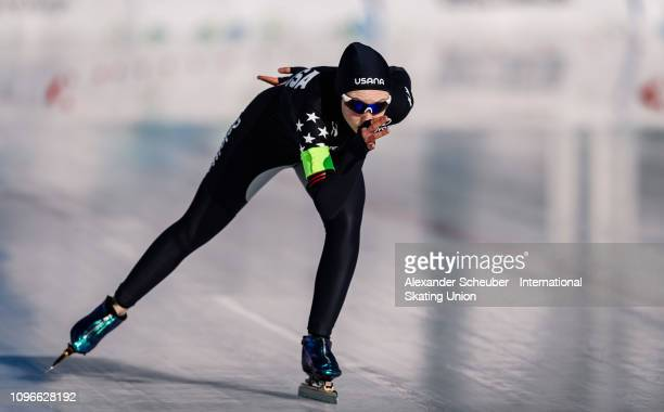 Lindsey Woodbury of the USA performs in the Ladies 1000m sprint race during the ISU Junior World Cup Speed Skating Final day 1 on February 9 2019 in...