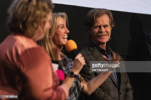 """Lindy Boustedt, Rachel Winter and William H. Macy speak during a Q&A hosted by TheFilmSchool after a screening of the film """"Stealing Cars"""" at SIFF..."""