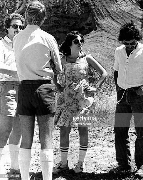 Lindy Chamberlain, Stuart Tipple, Michael Chamberlain and Colin Lees at Ayers Rock during the second inquest into the disappearance of baby Azaria...