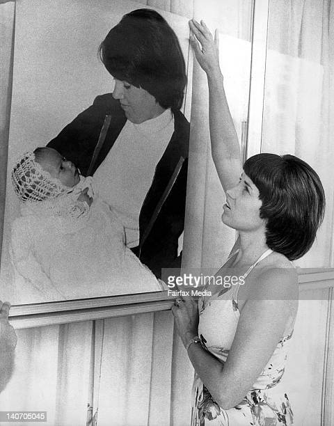 Lindy Chamberlain with a photo of her baby daughter, Azaria Chamberlain at her hotel following the first coronial inquest which found that a dingo...