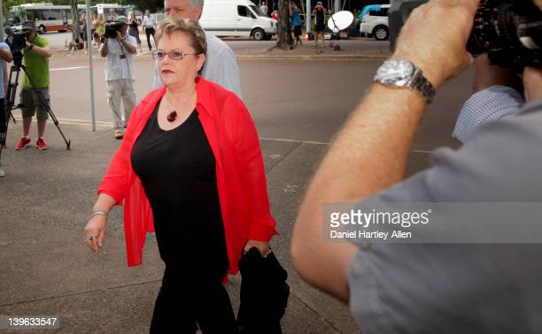 Lindy Chamberlain-Creighton arrives at Darwin Magistrates Court for the first day of the fourth coronial inquest into the disappearance of her...