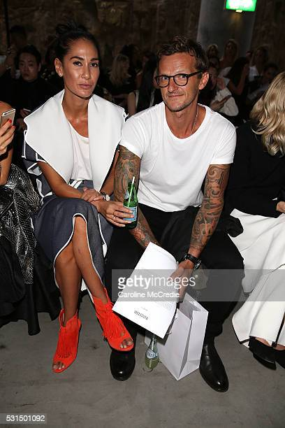 Lindy Klim and Adam Ellis attend the MercedesBenz Presents Maticevski show at MercedesBenz Fashion Week Resort 17 Collections at The Cutaway...