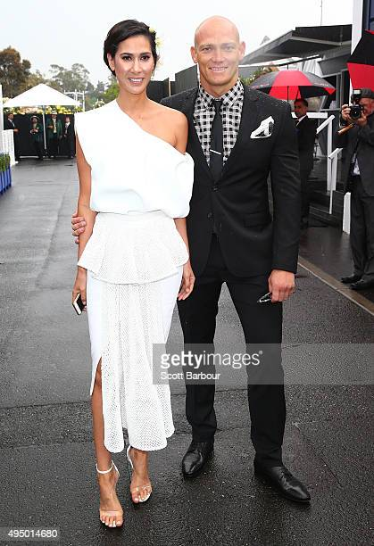 Lindy Klim and Michael Klim attend on Derby Day at Flemington Racecourse on October 31 2015 in Melbourne Australia