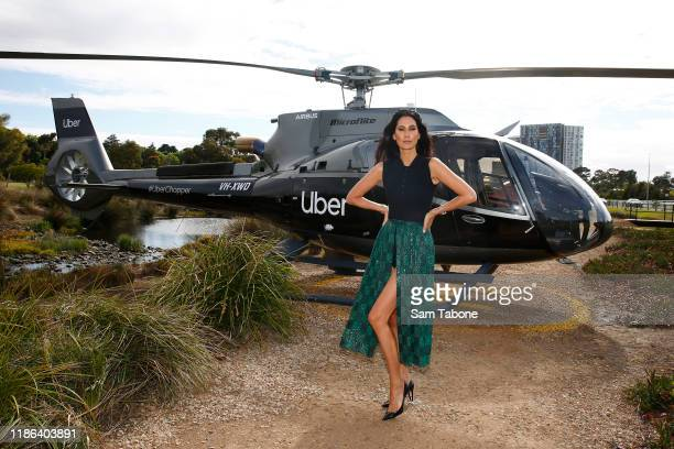 Lindy Klim arrives at Seppelt Wines Stakes Day at Flemington Racecourse on November 09 2019 in Melbourne Australia