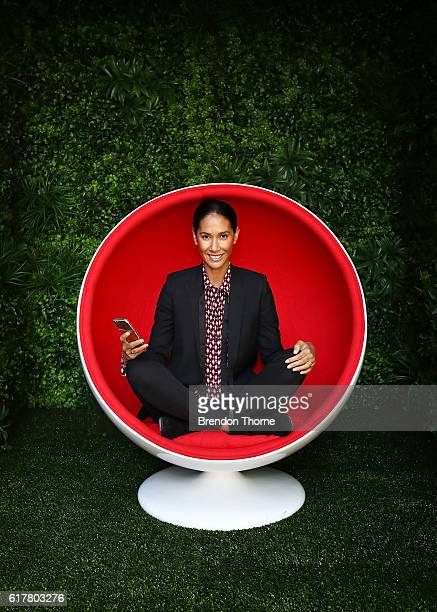 Lindy Klim poses inside a meditation pod in Martin Place during the Virgin Mobile and Smiling Mind partnership launch on October 25 2016 in Sydney...