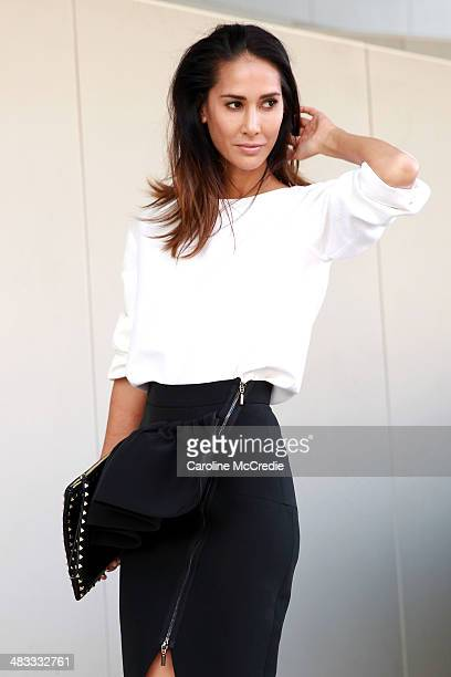 Lindy Klim wearing a Maticevski outfit and Scanlan and Theodore shoes at MercedesBenz Fashion Week Australia 2014 at Carriageworks on April 8 2014 in...