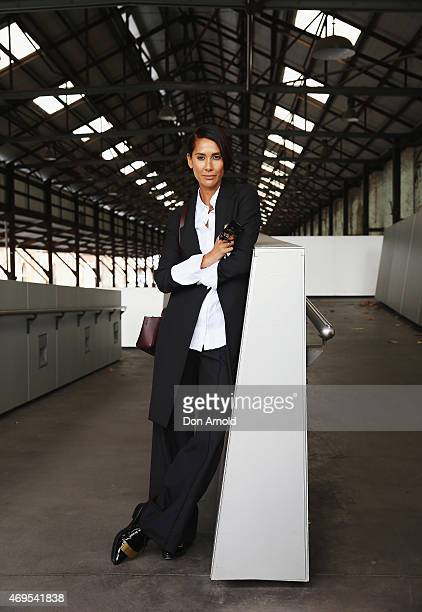 Lindy Klim wears a jacket and blouse by StrateusCarlucci at MercedesBenz Fashion Week Australia 2015 at Carriageworks on April 13 2015 in Sydney...