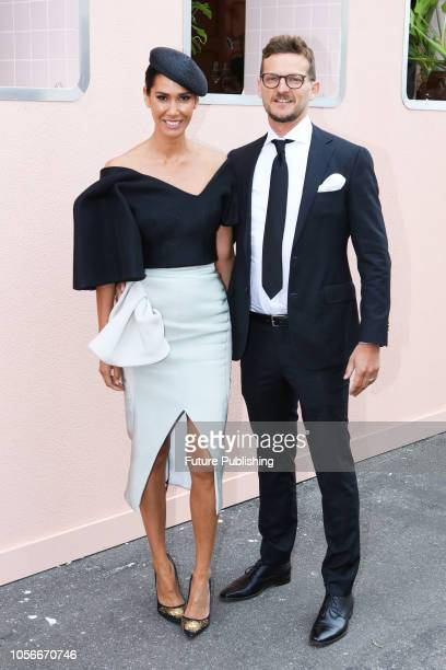 Lindy Rama-Ellis and Adam Ellis arrive at Derby Day at the 2018 Melbourne Cup Carnival