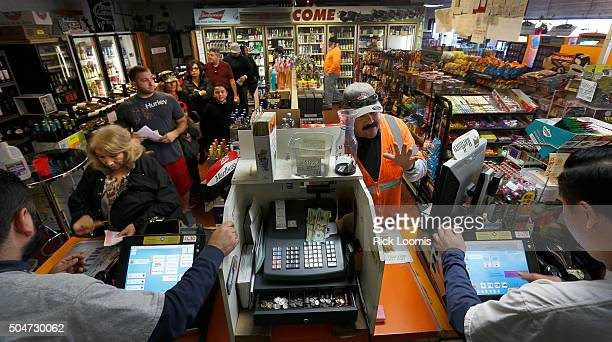 SAN PEDRO CA TUESDAY JANUARY 12 2016 A line begins to wrap around the inside of Mr C's Liquor in San Pedo Ca which has been doing a brisk business in...