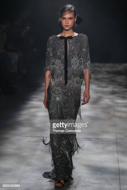 Line Brems walks the runway wearing Marchesa Fall 2017 during New York Fashion Week at Gallery 2, Skylight Clarkson Sq on February 15, 2017 in New...