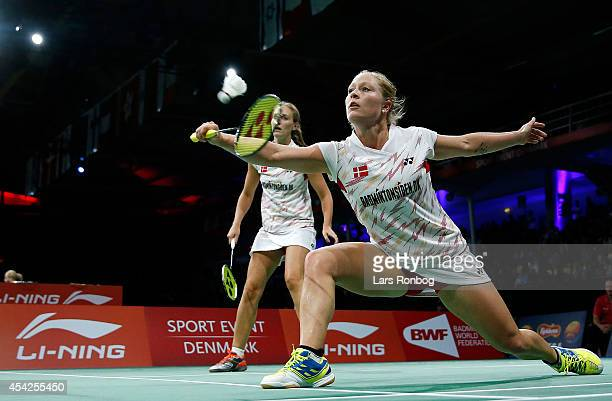 Line Damkjaer Kruse and Marie Roepkeof Denmark in action during the LiNing BWF World Badminton Championships at Ballerup Super Arena on August 27...