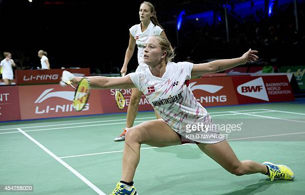 Line Damkjaer Kruse/Marie Roepke of Denmark in action against Vivian Hoo/Khe Wei Woon of Malaysia during their match in womena's double Badminton...