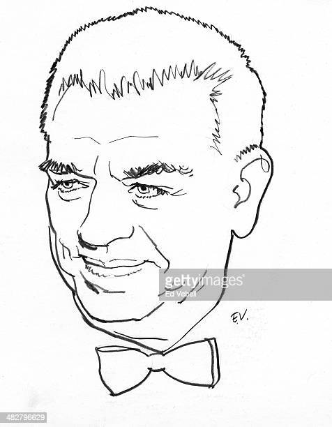 A line drawing of composer Oscar Hammerstein circa 1950