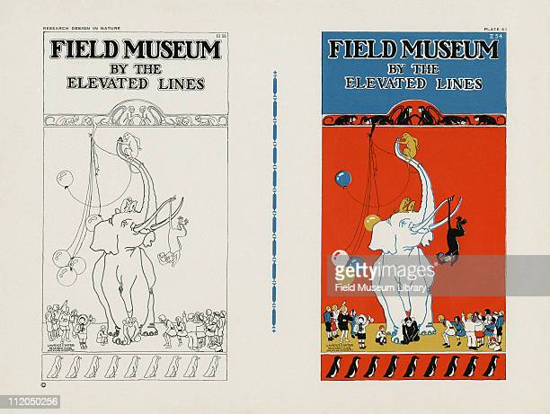 Line drawing of the Field Museum by the Elevated Lines and color poster of an elephant with monkeys and children around it mid 1920s