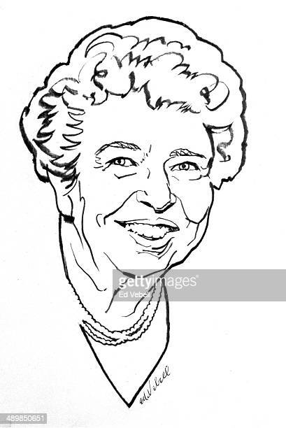 A line drawing of TV former First Lady and UN Reprentative circa 1950