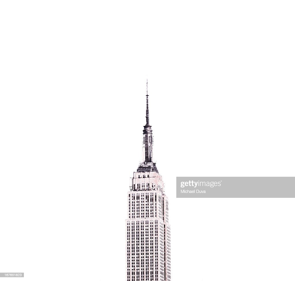 line drawing photo illustration empire state bldg : Stock Photo