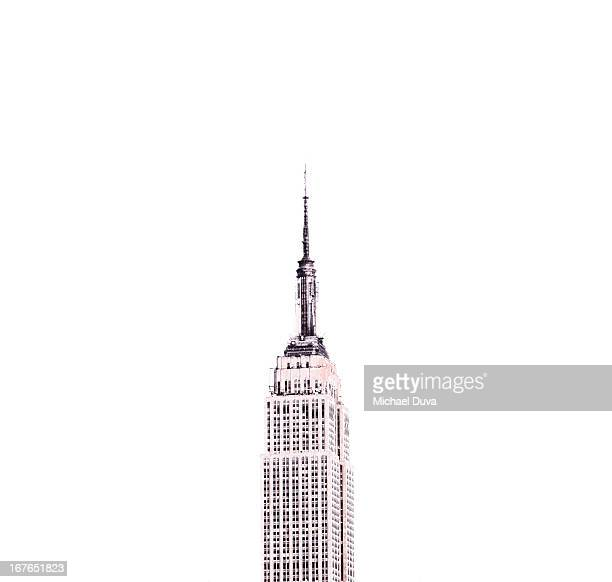 line drawing photo illustration empire state bldg - empire state building stock pictures, royalty-free photos & images