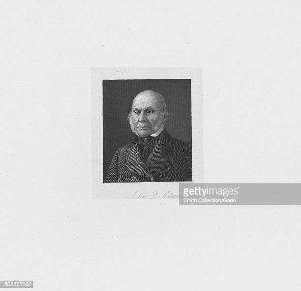 A line engraved portrait of John Quincy Adams later in life 1881 From the New York Public Library