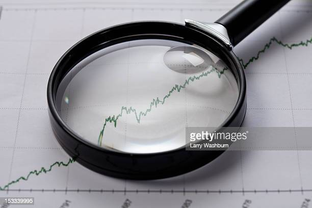 A line graph with a magnifying glass on top