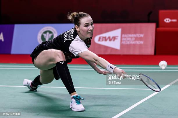 Line Hojmark Kjaersfeldt of Denmark competes in the Women's Singles second round match against Carolina Marin of Spain on day three of the Toyota...