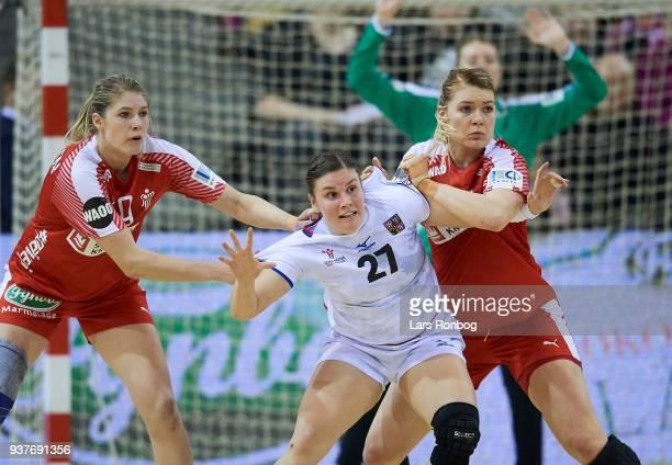 Line Jorgensen and Kathrine Heindahl of Denmark in action during the 2018 Women European Championship Qualification 2 match between Denmark and Czech...