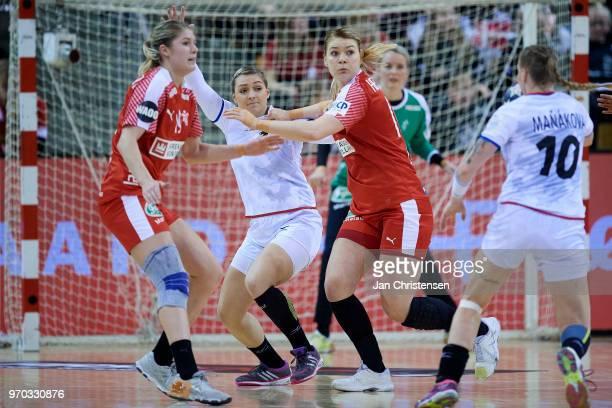 Line Jorgensen of Denmark and Kathrine Heindahl of Denmark defending during the EHF EURO 2018 qualification match between Denmark and Czech Republic...