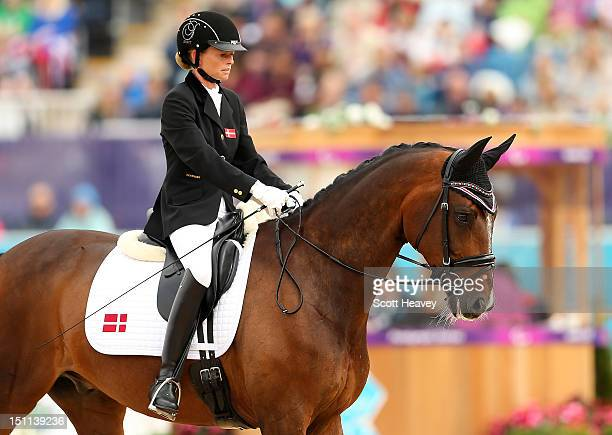 Line Jorgensen of Denmark during the Dressage Individual Championship Test Grade IV on day 4 of the London 2012 Paralympic Games at Greenwich Park on...