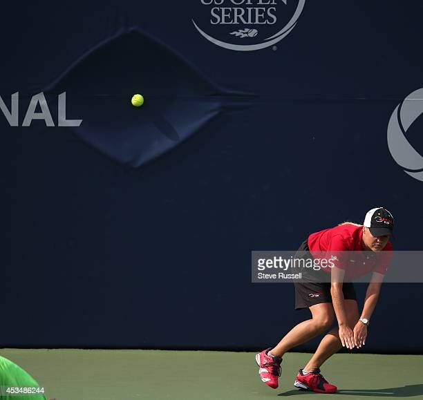 TORONTO ON AUGUST 8 A line judge avoids an ace from Grigor Dimitrov in quarter final action at the Rogers Cup Men's Tennis tournament at Rexall...