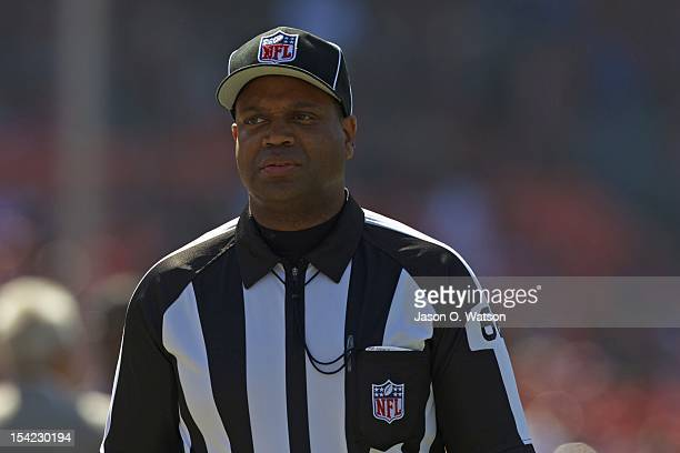 NFL line judge Chuck Stewart before the game between the San Francisco 49ers and the New York Giants at Candlestick Park on October 14 2012 in San...